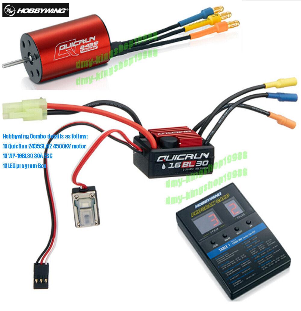 Hobbywing QuicRun-WP-16BL30 30A Esc + motor 2435 SL G2 4500KV + Caja de programa de LED