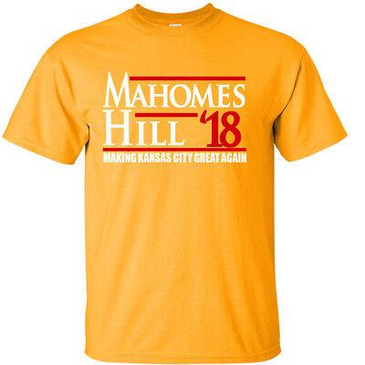 competitive price dd4bd 6a1e4 GOLD Patrick Mahomes III Tyreek Hill 18 Kansas City Chiefs T-Shirt | eBay