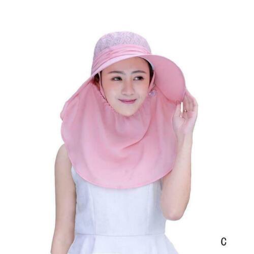 Frauen Sonnenhut mit Gesichts-Ansatz-Schutz-Wide Brim Sommer Schirmmuetzen J3G6