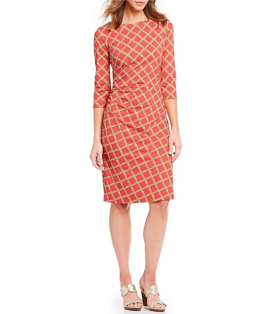 J. McLaughlin Catalina Cloth Sage Bamboo Bamboo Bamboo Print Sheath Dress Coral M NWT  225 c04d2a