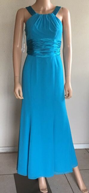 David's Bridal Women'sDress Long Size 2 Turquoise Blue Satin/Chiffon Bridesmaid