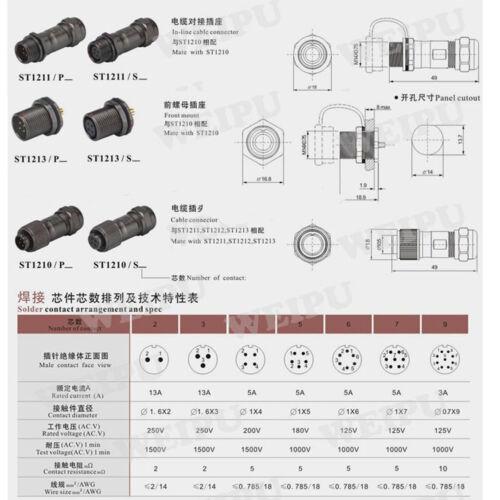 Weipu ST12 serie 2Pin-9Pin Impermeable conector de alimentación conector de cable de aviación