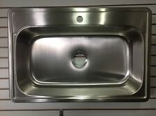 "33"" x 22"" Top Mount Drop In 1-Hole STAINLESS STEEL Single Bowl Kitchen Sink. NEW"