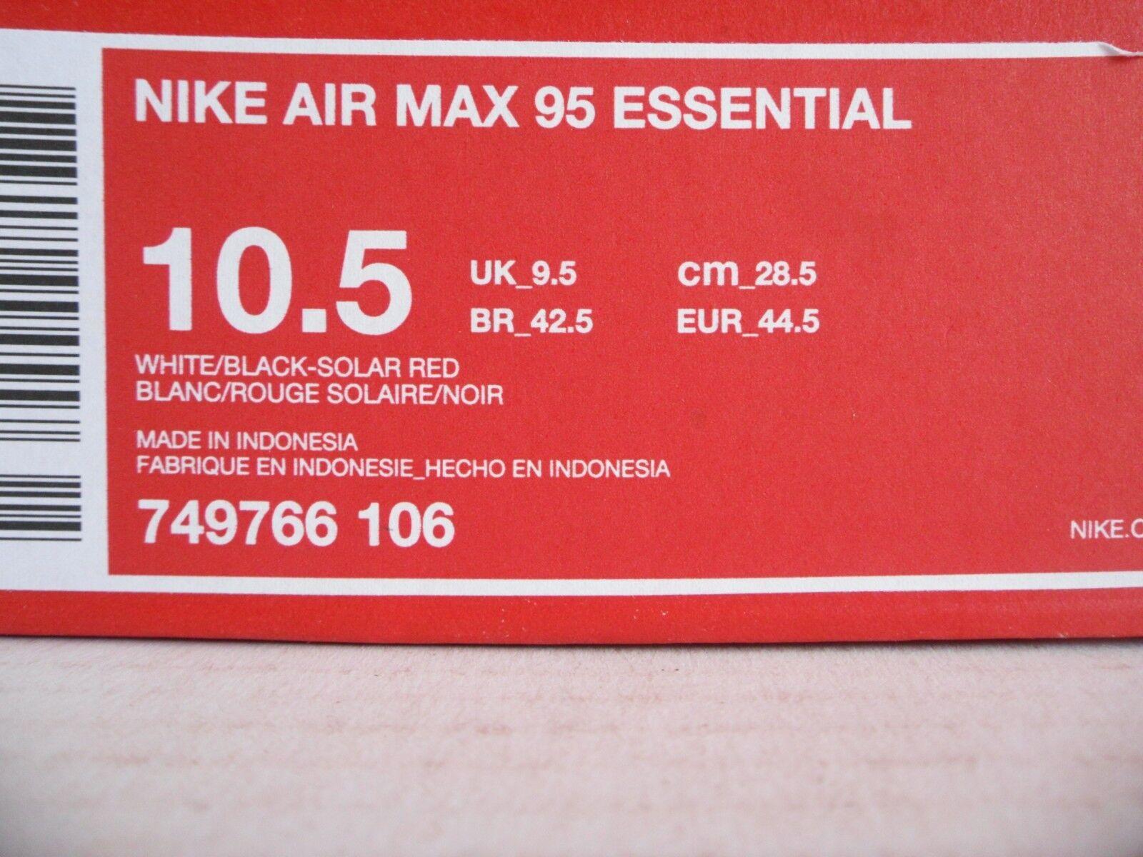 NIKE AIR MAX 95 SZ ESSENTIAL blanc-noir-SOLAR rouge SZ 95 10.5 [749766-106] 30bcb7