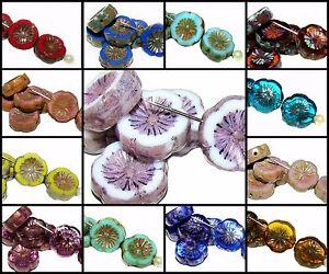 CHOOSE-COLOR-6pcs-12mm-Table-Cut-Flower-Beads-Czech-Glass