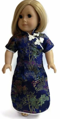 """Navy Asian Dress made for 18/"""" American Girl Doll Clothes"""