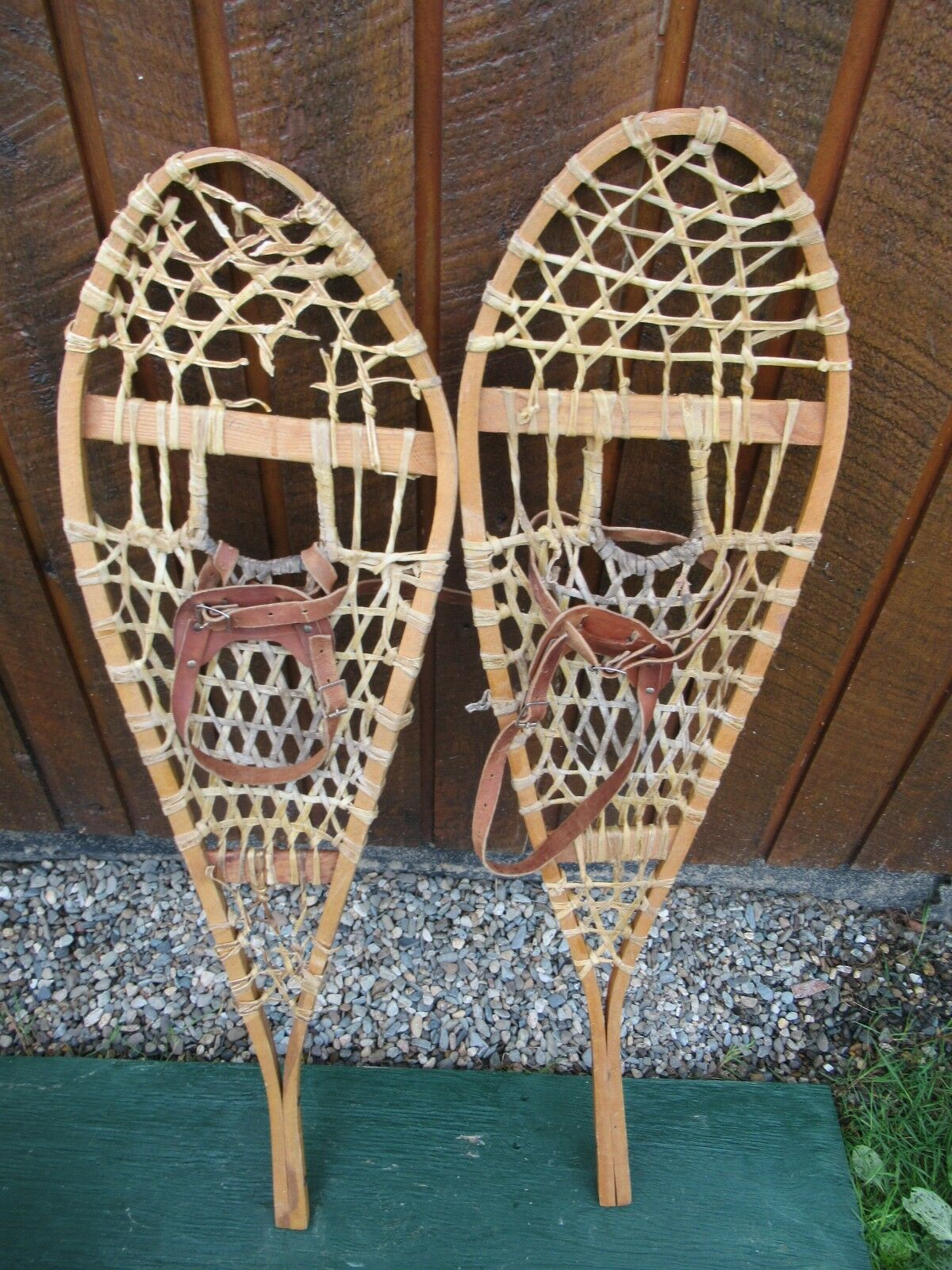 Snowshoes 43  Long 12  Wide with Leather Bindings   Ready To Hang for Decoration  presenting all the latest high street fashion
