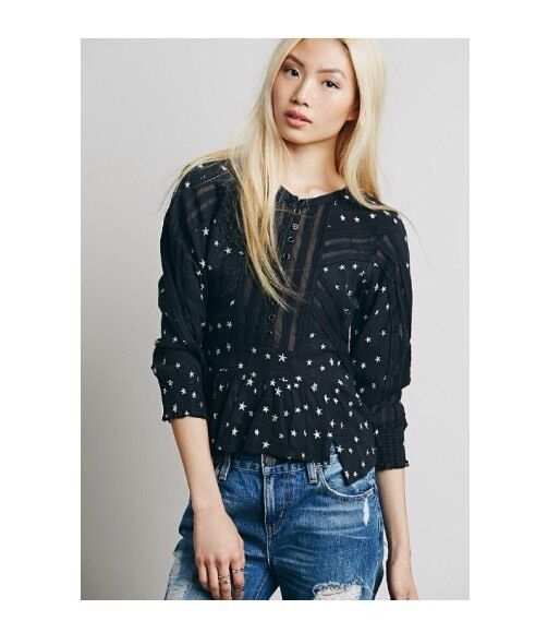 Free People New Romantics Star Embroiderot Peplum Top Größe 2