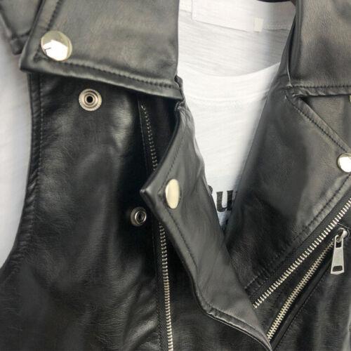 UK Women Faux Leather Sleeveless Waistcoat Gilet Biker Slim Jacke Vest Coats