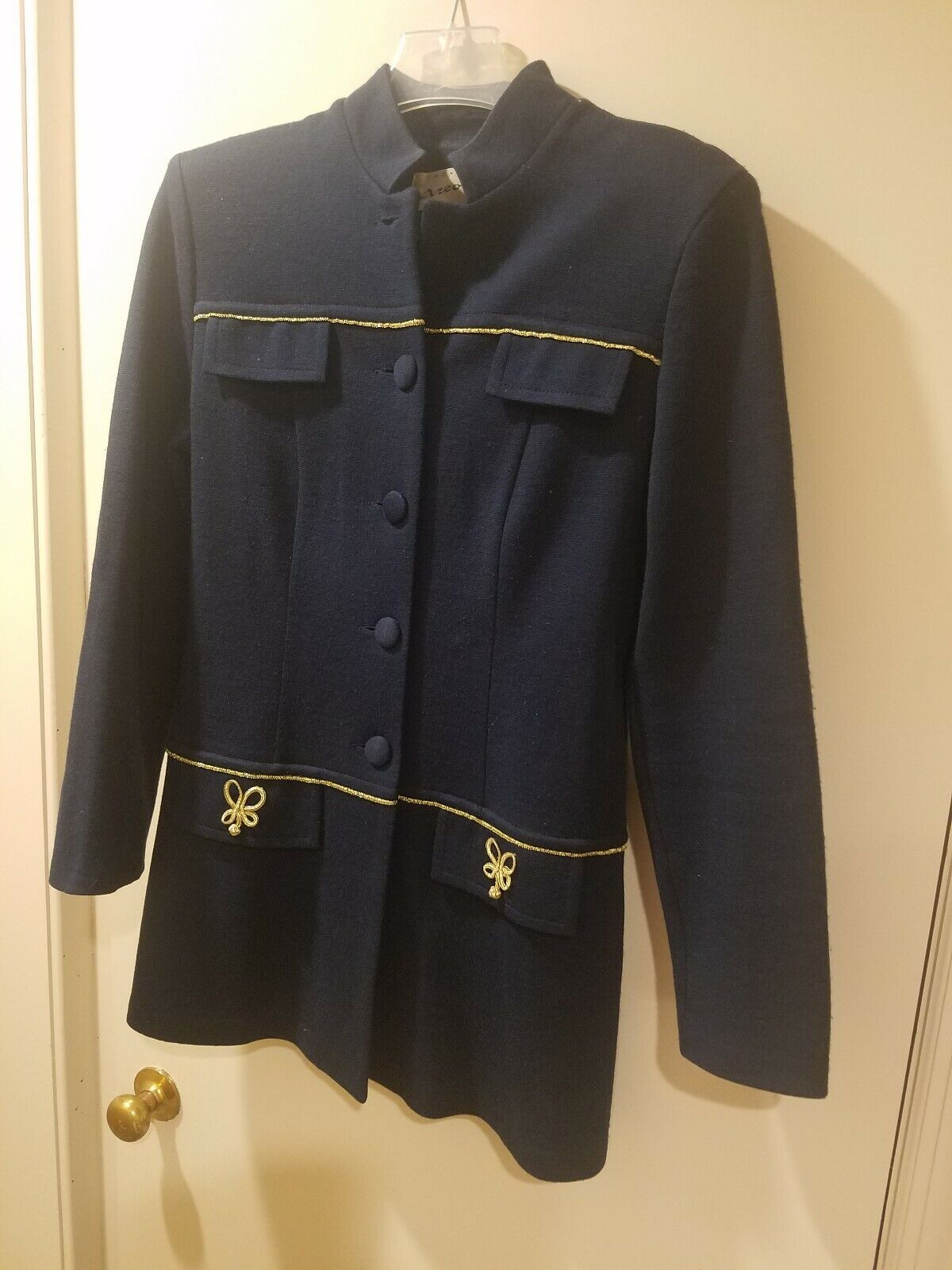 Womens Skirt Suit Navy bluee  Wool Size 8 Mandarian Collar Military style gold