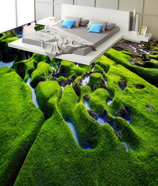 3D Green Hillside 521 Floor WallPaper Murals Wall Print 5D AJ WALLPAPER UK Lemon