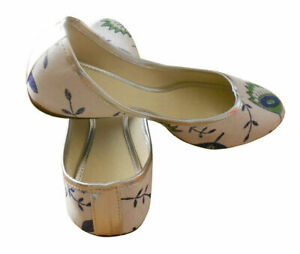 Women-Shoes-Indian-Traditional-Jutties-Leather-White-Ballerinas-UK-3-5-EU-36