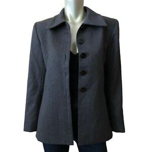 Vintage YSL Saint Laurent Rive Gauche Gray Blazer VTG 70s Wool US Size 6 38 EUR