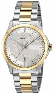 b012c39a87e GUCCI Quartz G-Timeless Silver Dial Men s Watch Two Tone Stainless ...