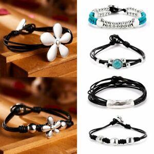 matériau sélectionné haut de gamme véritable mignonne Details about Vintage Retro Boho Style Flowers Leather Rope Women Men  Bracelets Jewellery Gift