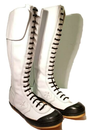 Rare Converse All Star White Leather Knee High Zip