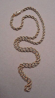 """14K Yellow Gold Rope Neck Chain Necklace 19"""" Long w/ Bayonet Clasp 14.7g estate"""