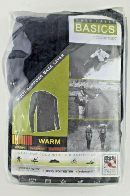 Polarmax Base Layer Men's Top Black Striped Crew Long Sleeve Snowboard Size M