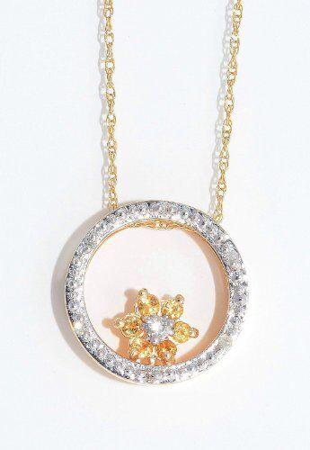 Citrine & Diamond Round Shape Pendant 14Kt Yellow gold Plated