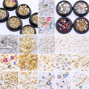 Smalto-per-Unghie-Punte-3D-Nail-Art-Decorazione-Strass-Lega-Tips-DIY
