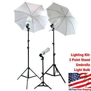 Studio Photography Lighting Kit 3 Point Stand Lighting Umbrella Photo Bulb LamFH