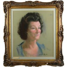 Traditional Mid Century Elegant Woman Portrait Pastel Painting Holland 1959