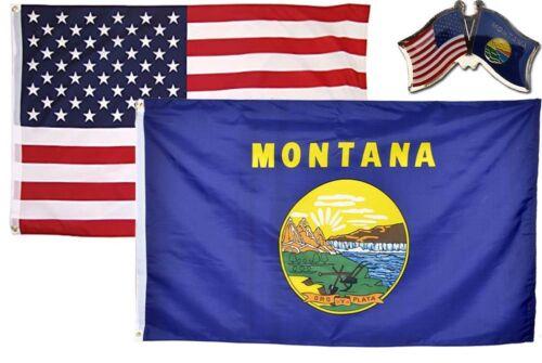 Wholesale Combo USA /& State of Montana 2x3 2/'x3/' Flag /& Friendship Lapel Pin