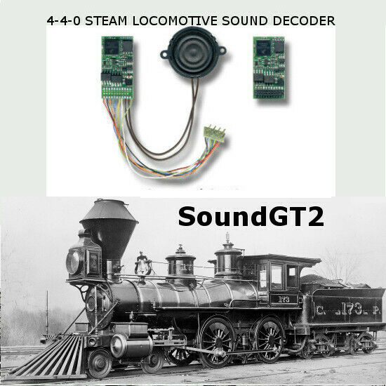 4-4-0 steam locomotive  SoundGT2.1 DCC decoder for Bachmann, Mantua, IHC, brass