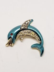 Dolphin-Pin-Turquoise-Color-Enamel-Rhinestones-Clear-Red-Vintage-Brooch