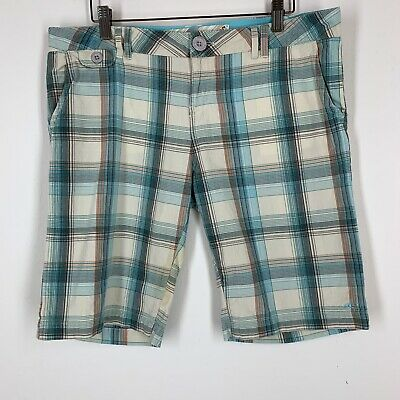 O/'Neill FORGET ME NOT White Green Yellow Blue Plaid Bermuda Junior/'s Shorts