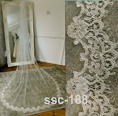 White Ivory 1T Lace Appliques 3M Long Cathedral Bridal Wedding Bride Veil g21