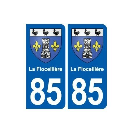 85 La Flocellière blason autocollant plaque stickers ville -  Angles : arrondis