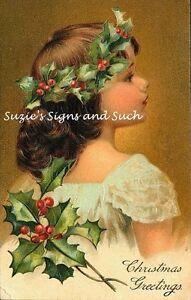 ... -Victorian-Christmas-Girl-Holly-Leaves-Postcard-Printed-onto-Fabric