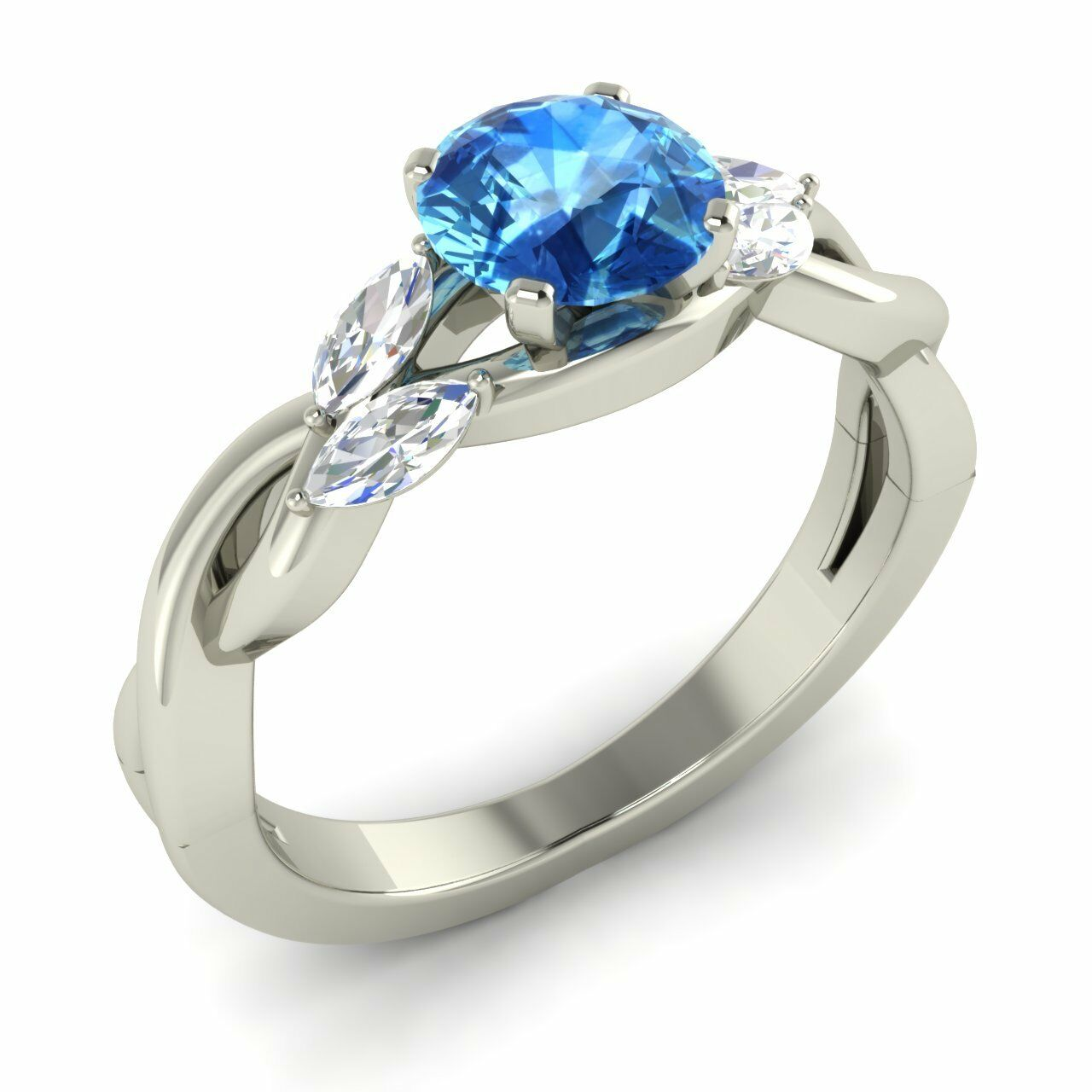 Natural bluee Topaz Engagement Ring 14k White gold VS Diamonds Certified 1.18 TCW