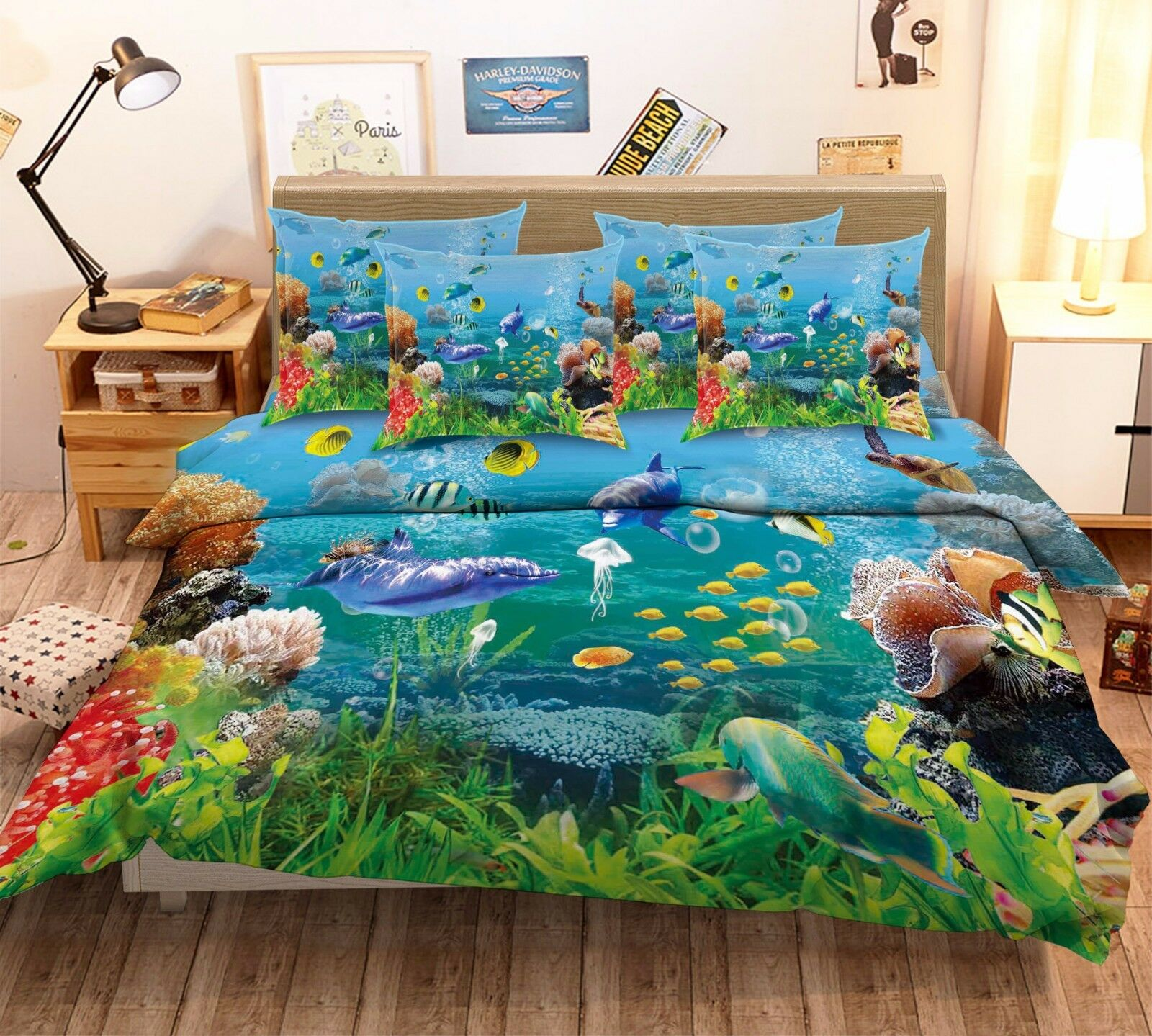 3D Dolphin Coral Fish 614 Bed Pillowcases Quilt Duvet Cover Set Single Queen CA