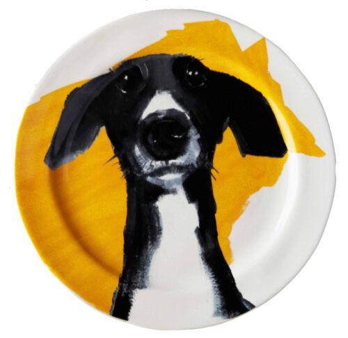 Sally Muir Anthropologie Dog-a-Day Stoneware Dessert Plate Whippet Greyhound