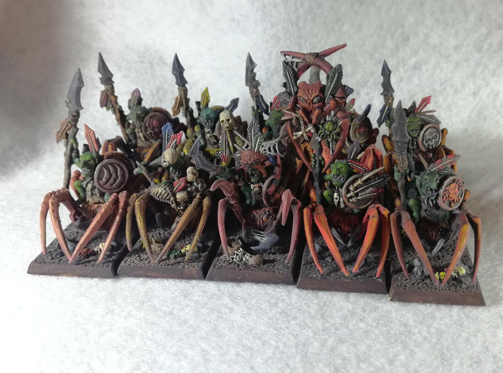 10 Forest Forest Goblin Spider Riders, PAINTED, Warhammer WFB