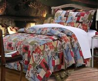 Rustic Lodge King Quilt Set : Red Plaid Reversible Western Cabin Bear Moose Wolf