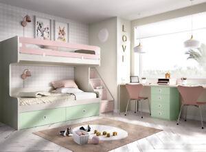 Details zu Premium Kinderzimmer Etagenbett Hochbett Stockbett XXL  Schubladen Treppe uvm.