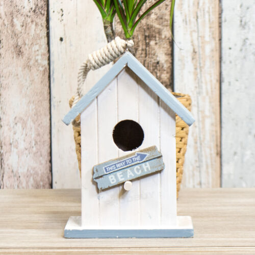 Nautical Beach White Wooden Bird House Nesting Box Tree Wall Hanging Nest Feeder