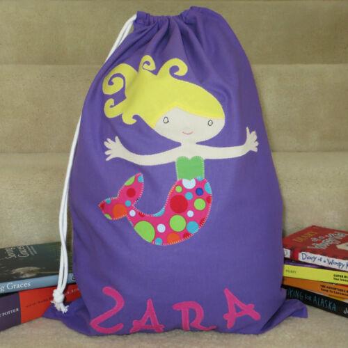PERSONALISED LIBRARY BAG //TOY BAG MERMAID
