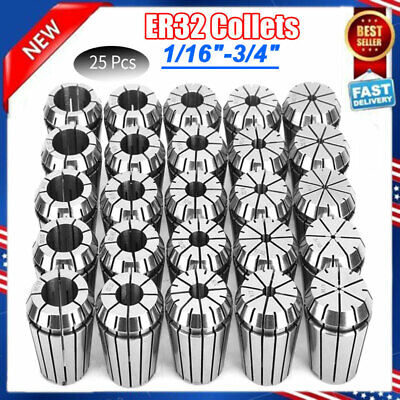 """ER32 COllet 25PC SET 1//16/""""-3//4/"""" by 16th and 32nd Industrial Grade Accurate"""