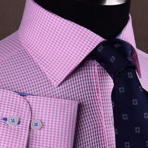 Pink-Houndstooth-Dress-Shirt-Retro-B2B-Plaids-amp-Checks-Mens-Semi-Formal-Business