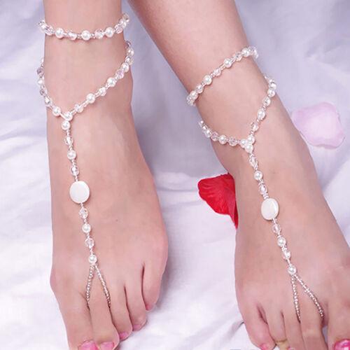 Pied Bijoux Perle Bracelet chaîne de cheville pieds nus sandale nuptiale PK