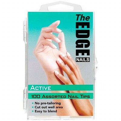 THE EDGE NAIL TIPS, BOX 100 OR 360. ACTIVE OR COMPETITION NATURAL OR WHITE