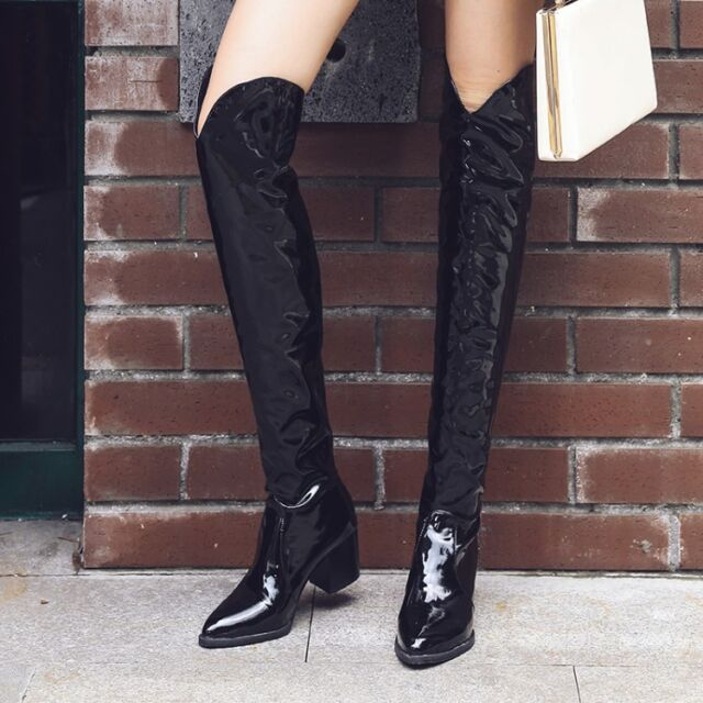 7030418c515 UK Women Shiny Leather Over the Knee Boots Pointy Toe Block High Heel Thigh  Boot