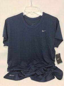Nike-Women-039-s-Performance-Short-Sleeve-Dri-Fit-Shirt-Navy-100-Polyester-NEW