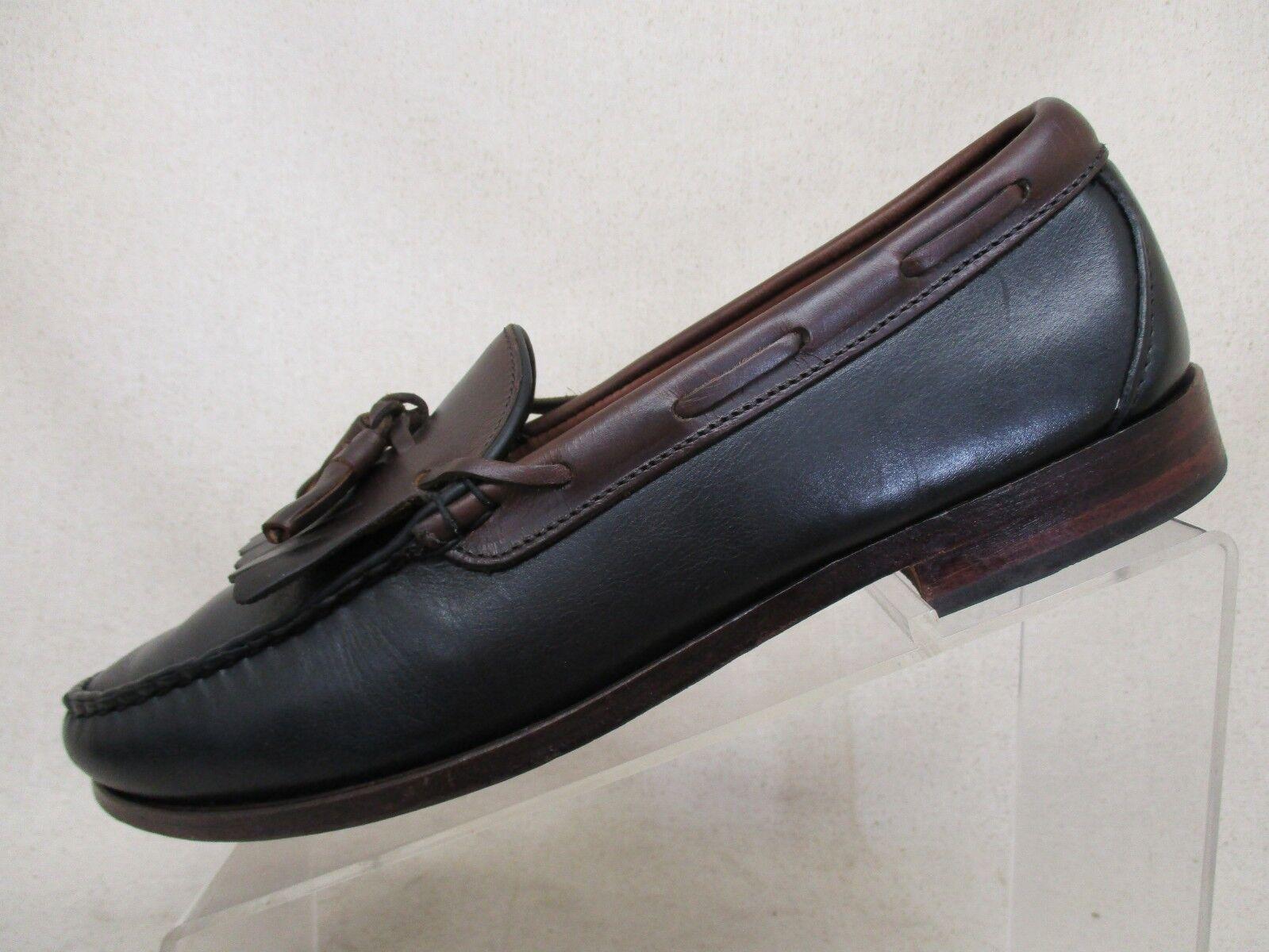 Allen Edmonds Kittery Black Brown Leather Moc Toe Tassel Loafers Size 9.5 D USA