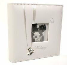 """WEDDING RINGS PICTURE PHOTO ALBUM 6"""" x 4"""" WEDDING DAY GIFT FAUX LEATHER"""
