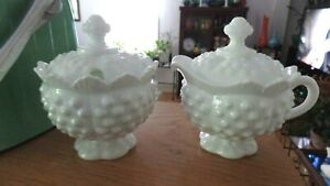 Fenton-Milk-Glass-Hobnail-Crown-Top-Edge-Covered-Creamer-and-Sugar-Bowl